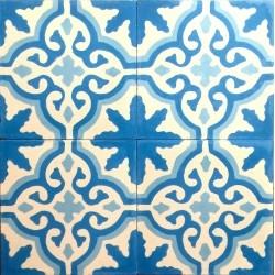 carrelage en ciment flore-bleu