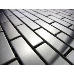 amostra mosaico aco inoxidavel brick 48 para banheiro