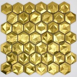 Mosaikstahl gefliestes Metall für Küchenwand und Badezimmer Kamin Gold