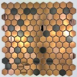 carrelage hexagon inox pour sol et mur douche et salledebain mi-duncan