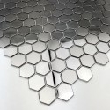 mosaique hexagonale en métal miroir et brossé mur et sol cuisine in-yuri