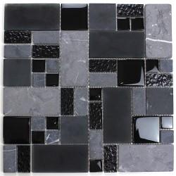 Piastrella per bagno e cucina in mosaico nero mvp-shadow