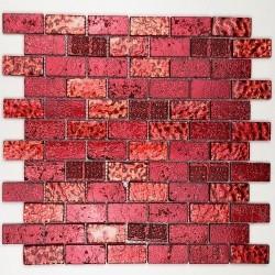 Carrelage mosaique en verre et pierre metallic brique rouge