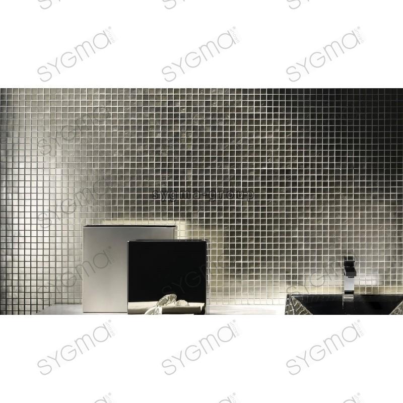 carrelage mosaique en verre argenté pour mur md-hedra-argent