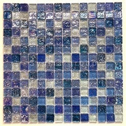 glass mosaic for wall and bathroom Arezo Cyan
