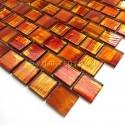 carrelage en verre mosaique salle de bains et cuisine Drio orange
