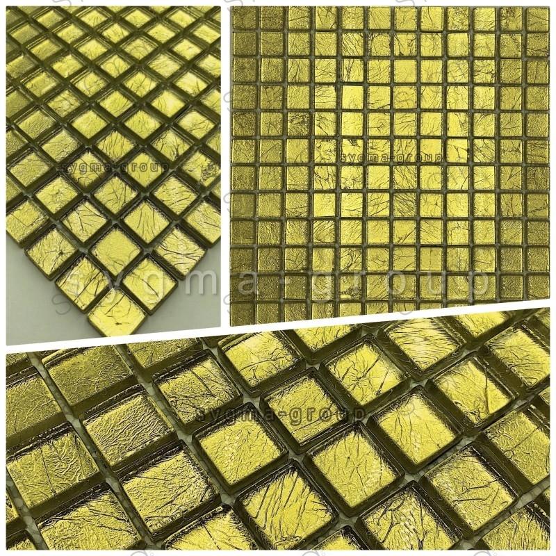 Echantillon mosaique de verre salle de bain et douche hedra or
