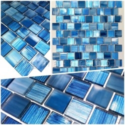 echantillon mosaique de verre salle de bain et douche drio bleu
