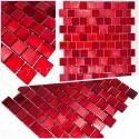 échantillons carreaux mosaique pour salle de bains et cuisine au mur drio rouge