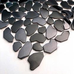 Schwarzes Metallmosaik für Dusch oder Badezimmerboden aus Stahl SYRUS NOIR