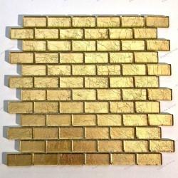 carrelage mosaique en verre feuille couleur or pour mur TESSA OR