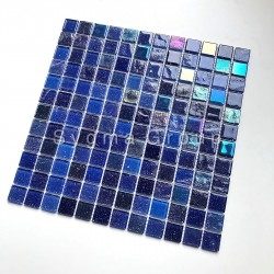 Blue glass mosaic tile for bathroom and kitchen walls Habay Bleu