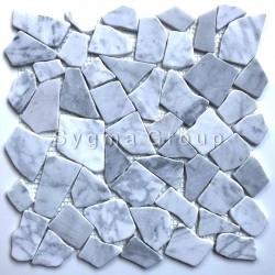Pavimento e rivestimento in marmo a mosaico di pietra per il pavimento e il rivestimento del bagno Oria Blanc