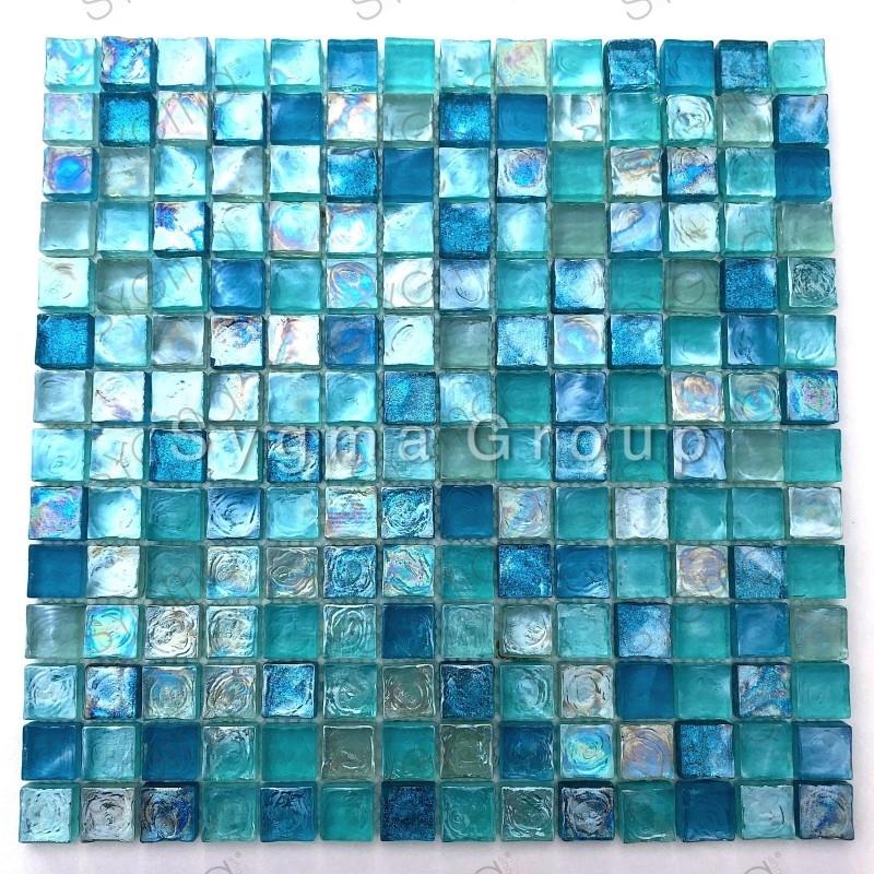 blaue Glasfliesen und Mosaik für Bad und Küche Arezo Turquoise