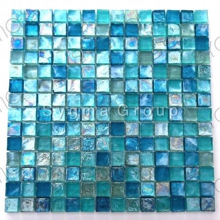 Blauwe glazen tegel en mozaïek voor badkamer en keuken Arezo Turquoise