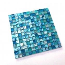 azulejo de vidro azul e mosaico para banheiro e cozinha Arezo Turquoise