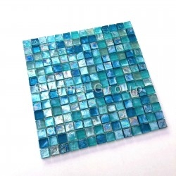Tile blue glass mosaic for bathroom and kitchen Areso Turquoise