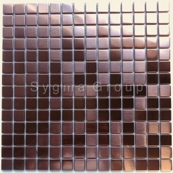 Mosaic stainless steel copper color tiles for a kitchen or bathroom CARTO CUIVRE