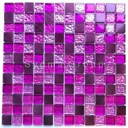 mozaieken badkamer aluminium en glas Nomade Fuchsia