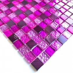 mosaico para baño y ducha de vidrio y aluminio Nomade Fuchsia