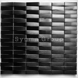 Mosaico a parete in acciaio 3D Mosaico metallico Shelter Noir