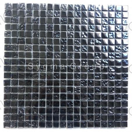 Carrelage et mosaique en verre noir irisé pour cuisine et salle de bain Kerem
