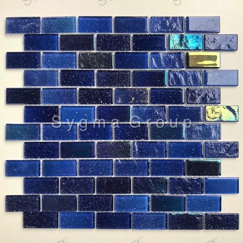 Mosaique de verre bleue pour le mur de cuisine et salle de bains Kalindra Bleu