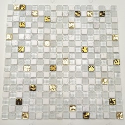 White tiles and golden...