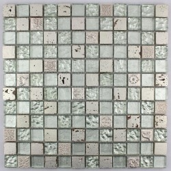 mosaico de piedra y baño de cristal mvp-met-sil