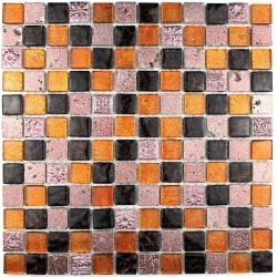 Mozaiek van stenen en glazen badkamer Alliage Cafe