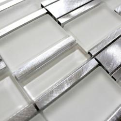 Mosaik für Bad und Dusche Glas und Aluminium Albi Blanc